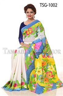 Picture of Hand Print Cotton Saree - TSG-1002