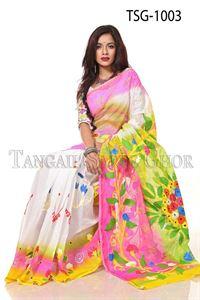Picture of Hand Print Cotton Saree - TSG-1003