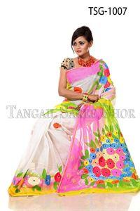 Picture of Hand Print Cotton Saree - TSG-1007