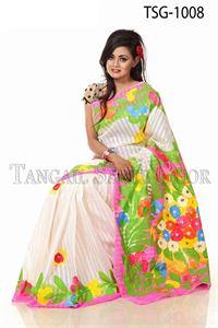 Picture of Hand Print Cotton Saree - TSG-1008