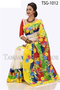 Picture of Half Silk Kuta Hand Print Saree - TSG-1012