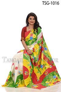 Picture of Half Silk Kuta Hand Print Saree - TSG-1016
