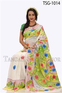 Picture of Half Silk Kuta Hand Print Saree - TSG-1014
