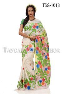 Picture of Half Silk Kuta Hand Print Saree - TSG-1013