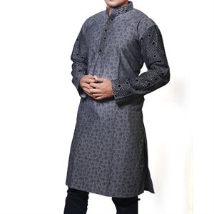 Picture of Cotton Semi  Long Black Panjabi for men mfz-2