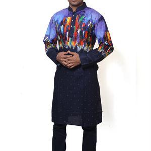 Picture of Cotton Semi  Long Black and Multi color Panjabi for men mfz-3