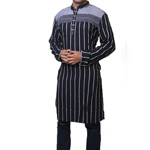Picture of Cotton Semi  Long Black Panjabi for men mfz-5