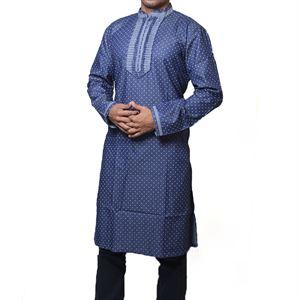 Picture of Cotton Semi  Long blue zodiac Panjabi for men mfz-7