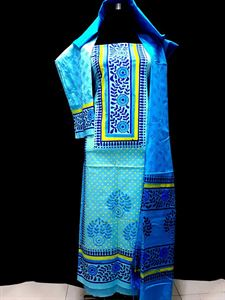 Picture of unstiched block printed cotton replica three pcs salwar kameez seblock-504