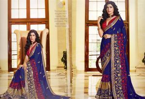 Picture of Georgette and embroidery work saree ssc-728