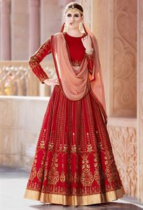 Picture of  un-stitched  embroidery work lehenga  L-23