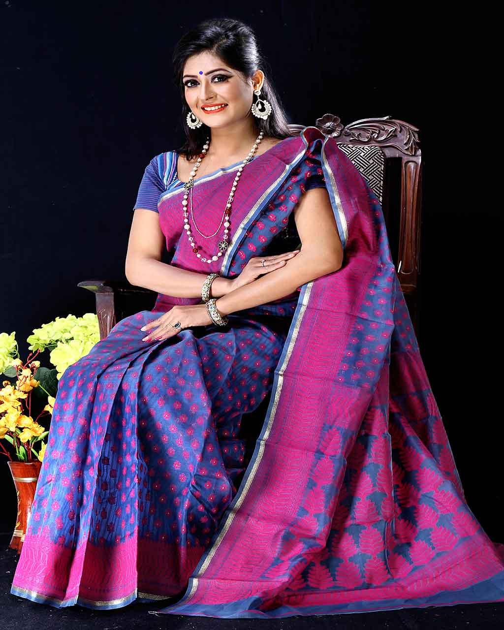 4920c37d5be Online Shopping Bangladesh:: Moslin Jamdani Saree -TSG-9313