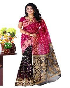 Picture of  Mosline Jamdani Saree -TSG-16965
